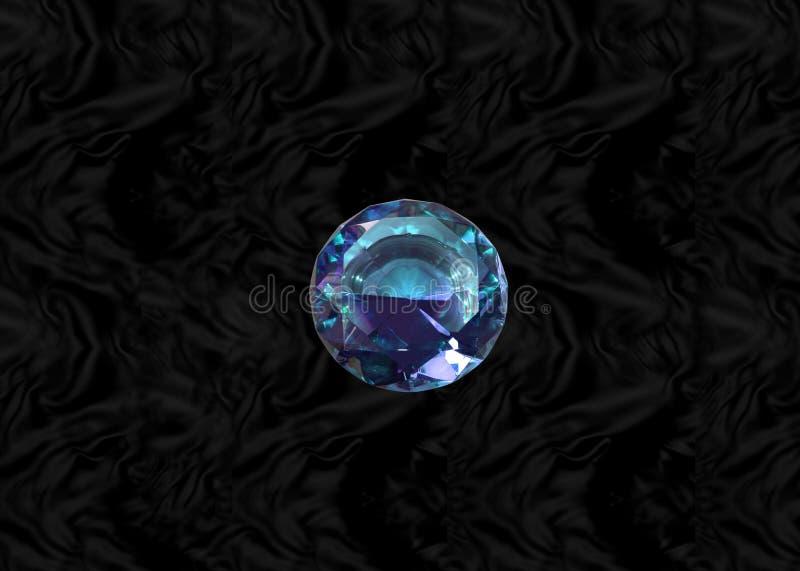 Gema azul en el terciopelo negro stock de ilustración