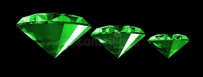 gema da esmeralda 3d isolada ilustração royalty free