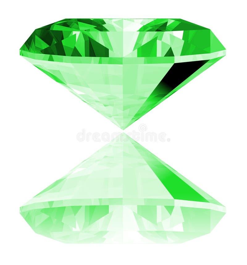 gema da esmeralda 3d isolada ilustração stock