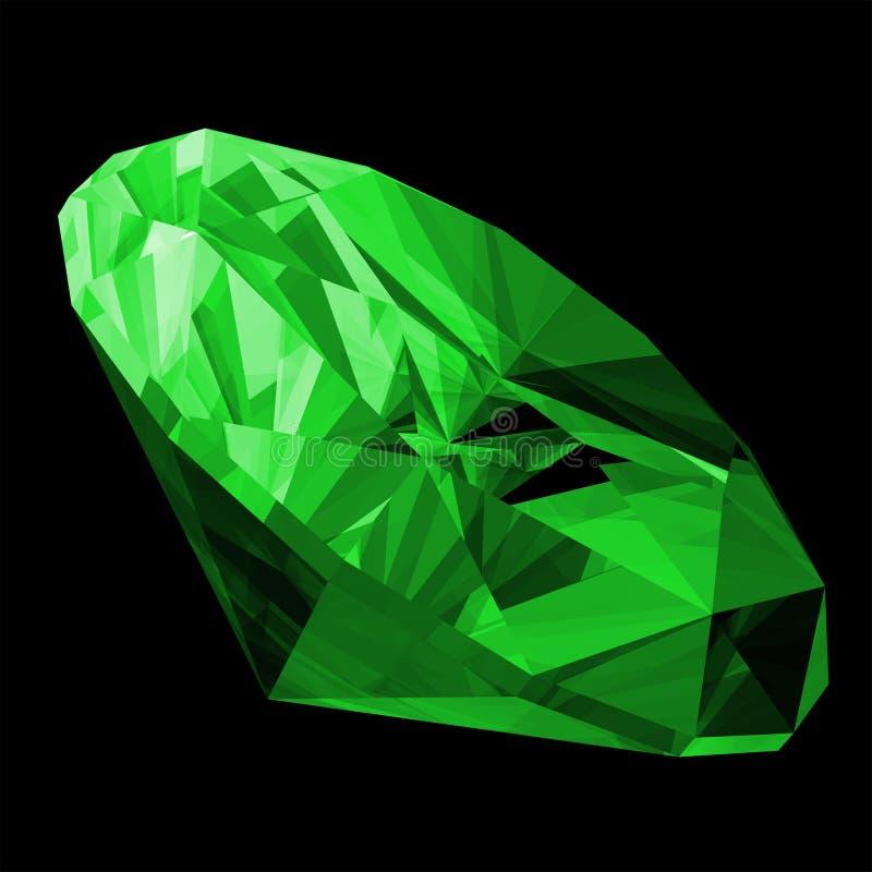 gema da esmeralda 3d isolada ilustração do vetor