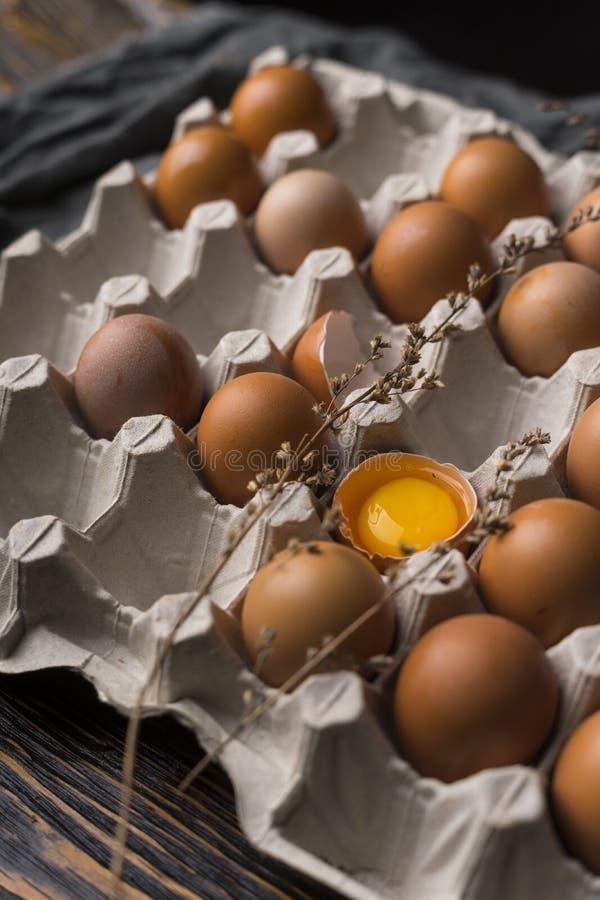 A gema de ovo quebrado na casca de ovo e diversos ovos na caixa egg a BO imagem de stock royalty free