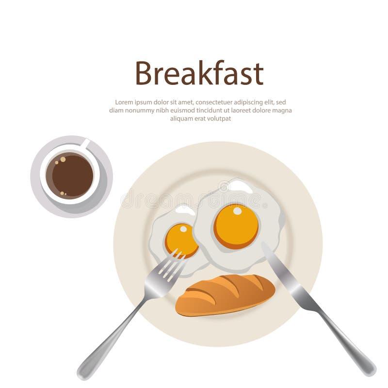 Gema do menu do café da manhã com pão e cofee na placa ilustração royalty free