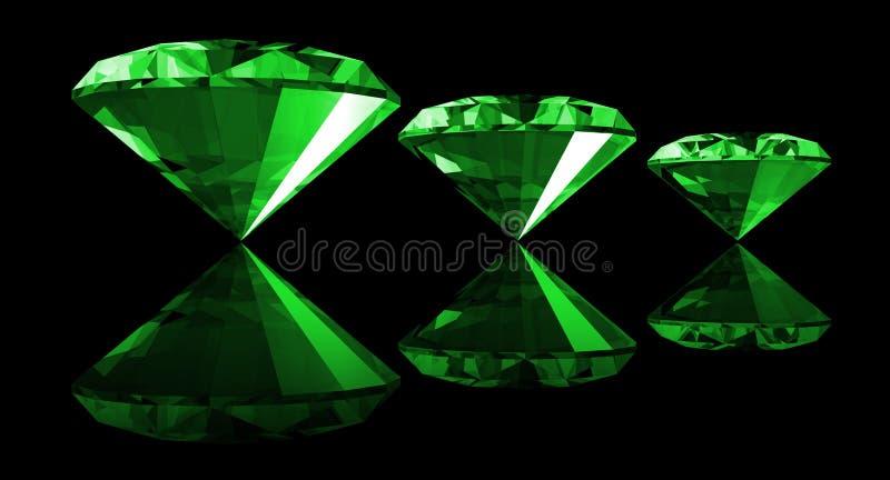 gema esmeralda 3d aislada stock de ilustración
