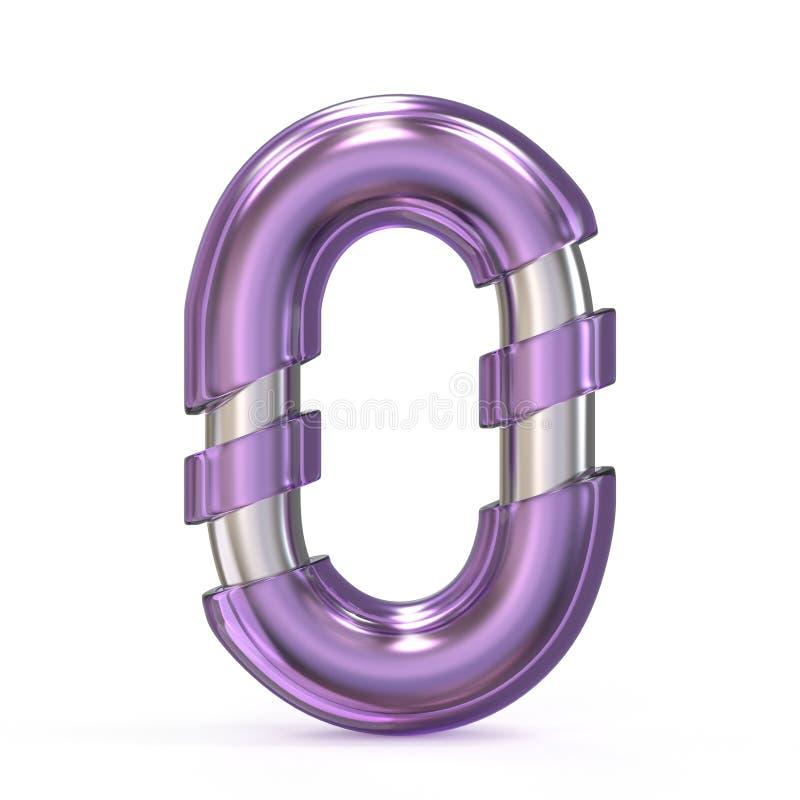 Gema púrpura con la LETRA O 3D de la fuente de la base del metal libre illustration