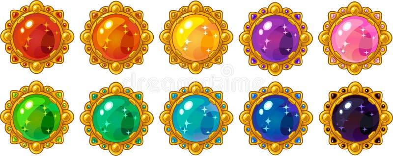 Gema redonda colorida brillante con el sistema de oro del marco para el dise?o de interfaz m?vil del juego stock de ilustración