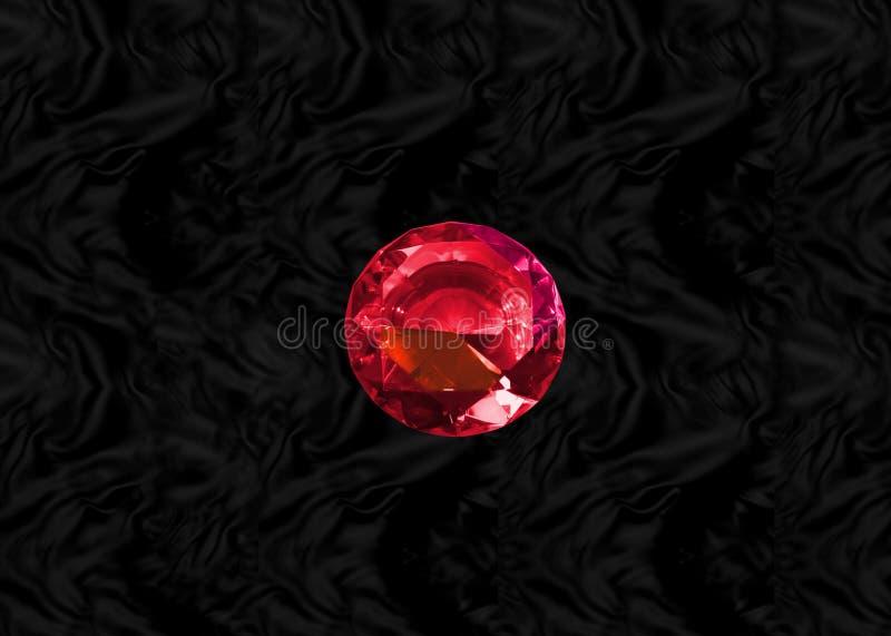 Gema roja en el terciopelo negro stock de ilustración