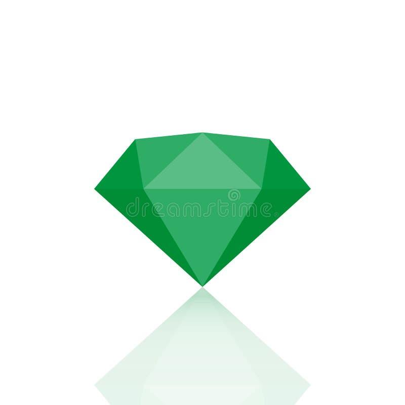Gema verde hermosa esmeralda en el fondo blanco Ilustración del vector stock de ilustración