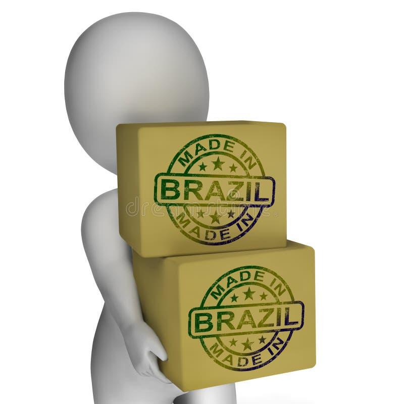 Gemaakt in Brazilië toont de Zegel op Dozen Braziliaanse Producten stock illustratie