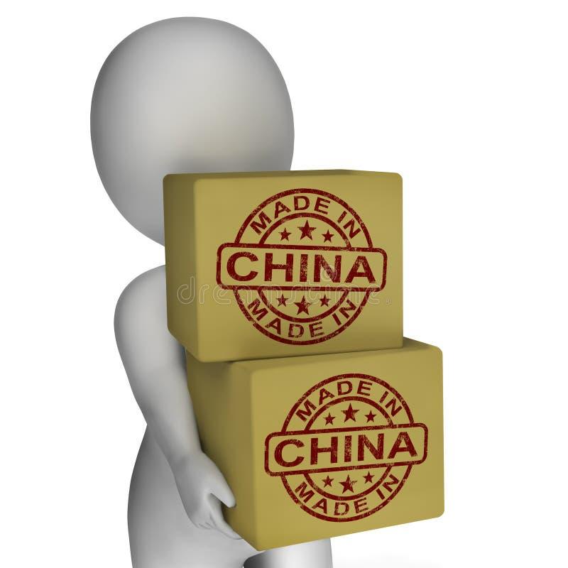 Gemaakt in China toont de Zegel op Dozen Chinese Producten vector illustratie