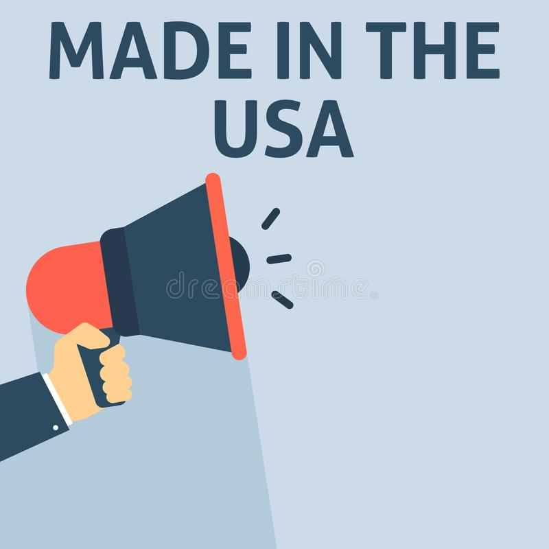 GEMAAKT IN de Aankondiging van de V.S. De Megafoon van de handholding met Toespraakbel stock illustratie