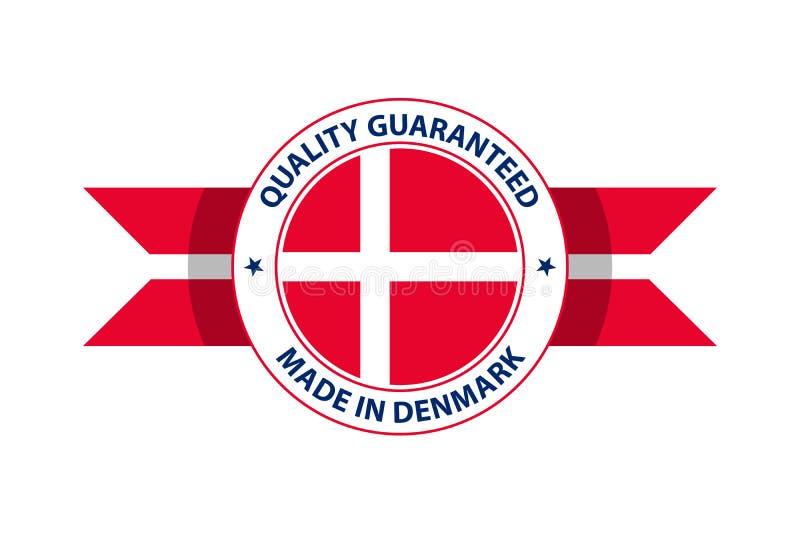 Gemaakt in de kwaliteitszegel van Denemarken Vector illustratie royalty-vrije illustratie