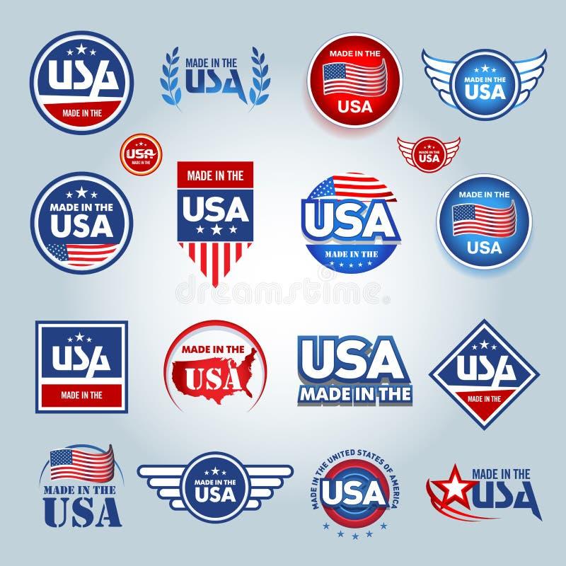 Gemaakt in de pictogrammen van de V.S. Amerikaan maakte Reeks vectorpictogrammen, zegels, verbindingen, banners, etiketten, emble stock illustratie