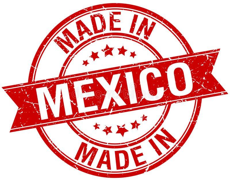gemaakt in de rode uitstekende zegel van Mexico stock illustratie