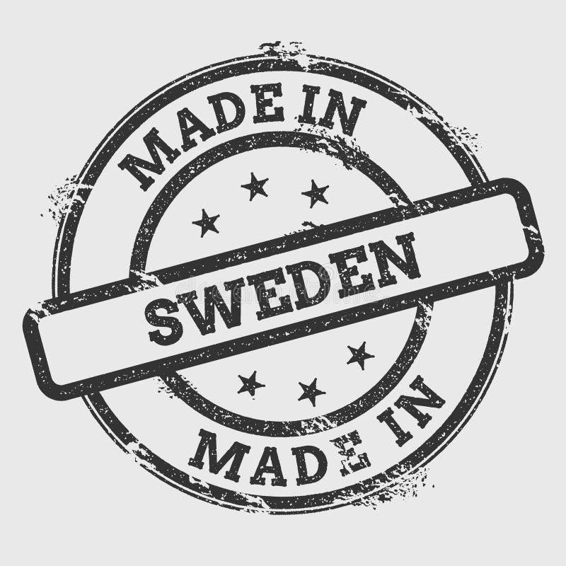Gemaakt in de rubberdiezegel van Zweden op wit wordt geïsoleerd royalty-vrije illustratie
