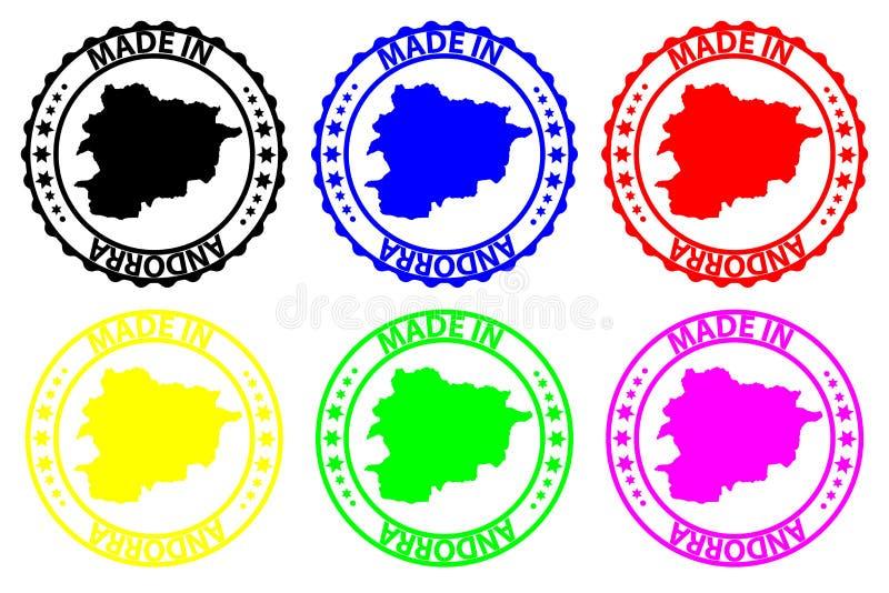 Gemaakt in de rubberzegel van Andorra royalty-vrije illustratie
