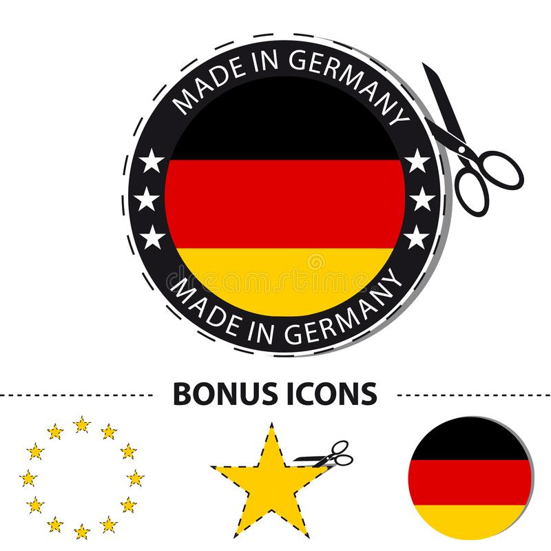Gemaakt in de Sticker van Duitsland met Schaar en Besnoeiingslijn - VectordieIllustratie met Bonuspictogrammen - op Wit worden ge royalty-vrije illustratie