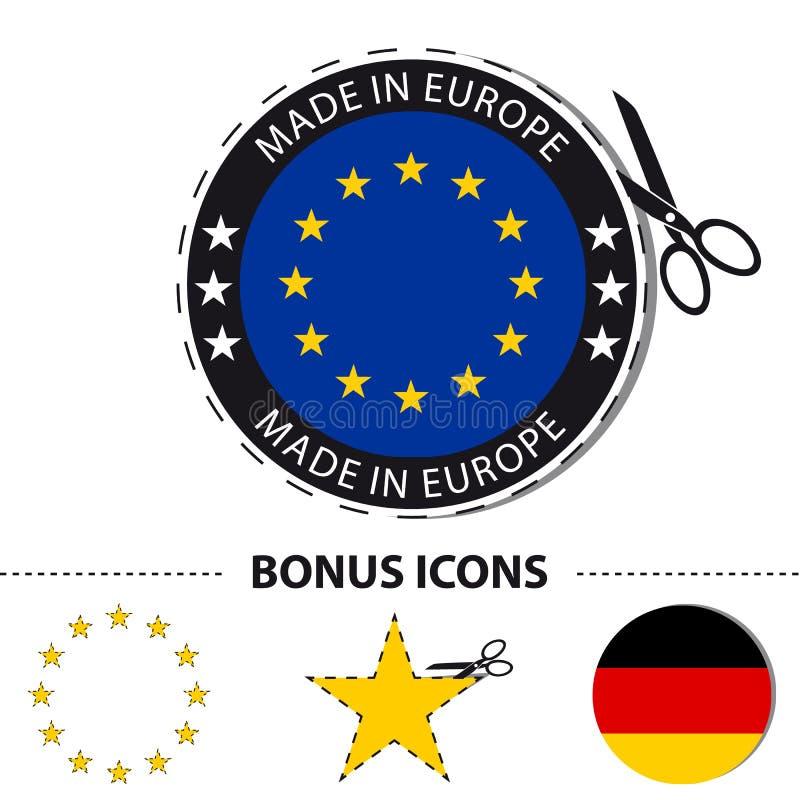 Gemaakt in de Sticker van Europa met Schaar en Besnoeiingslijn - VectordieIllustratie met Bonuspictogrammen - op Wit worden geïso stock illustratie