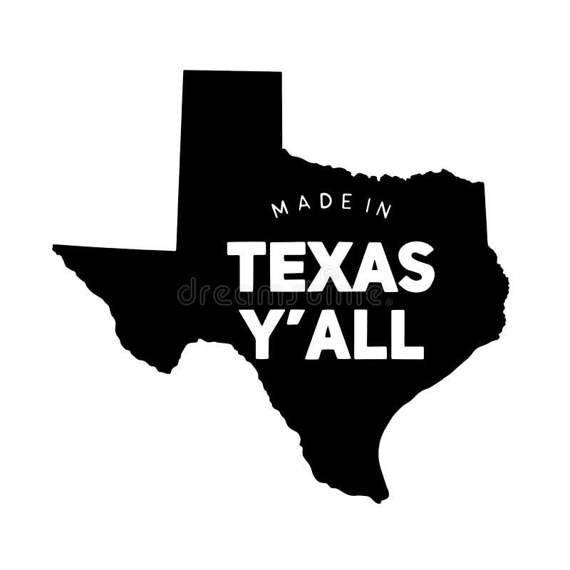 Gemaakt in de typografie van Texas op staat stock illustratie