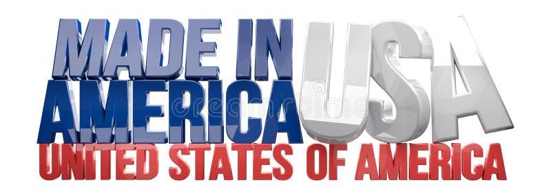 Gemaakt in de V.S. 3D geven de Verenigde Staten van Amerika terug stock illustratie