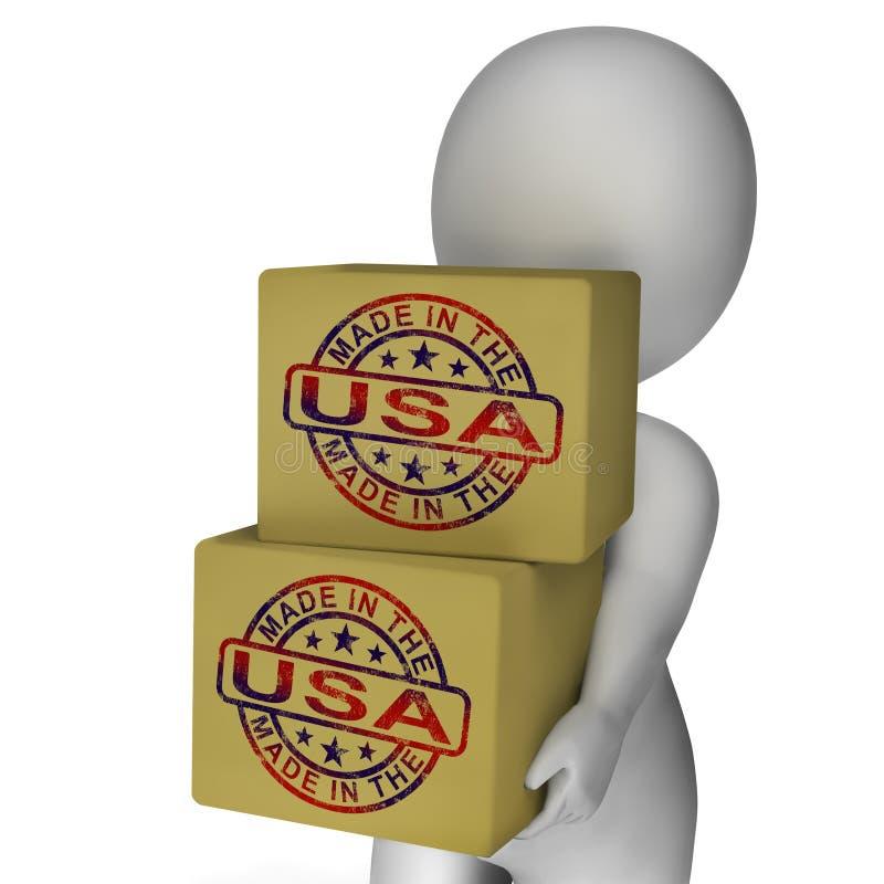 Gemaakt in de V.S. toont de Zegel op Dozen Amerikaanse Producten vector illustratie