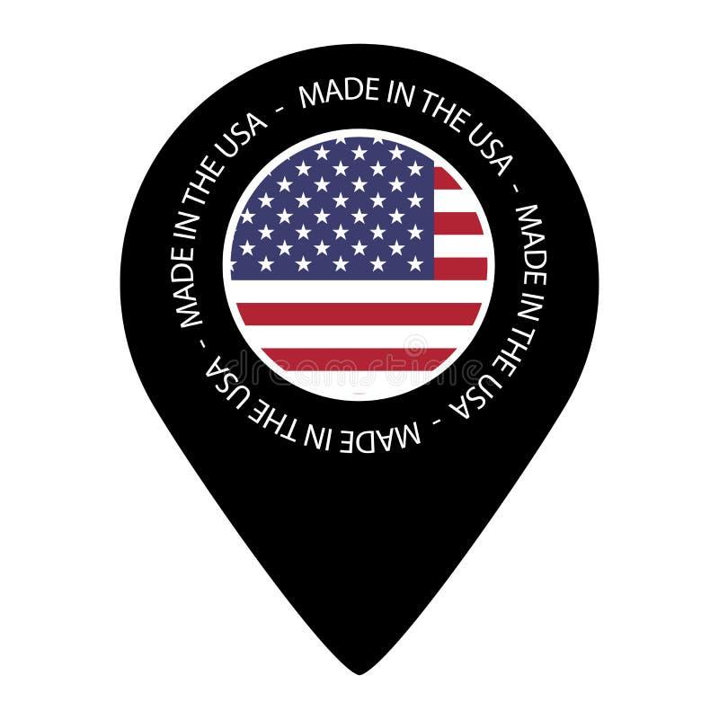 Gemaakt in de V.S. - de Vlag van de Kaartwijzer - VectordieIllustratie - op Wit wordt geïsoleerd stock illustratie
