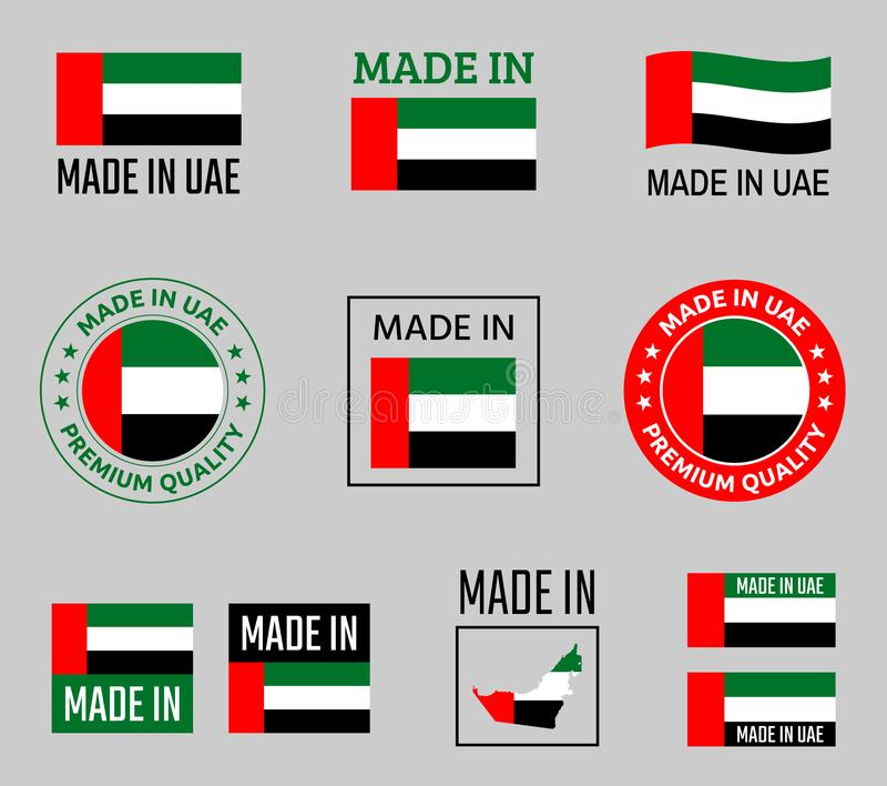 Gemaakt in de Verenigde Arabische geplaatste etiketten van Emiraten, gemaakt in het productembleem van de V.A.E royalty-vrije illustratie