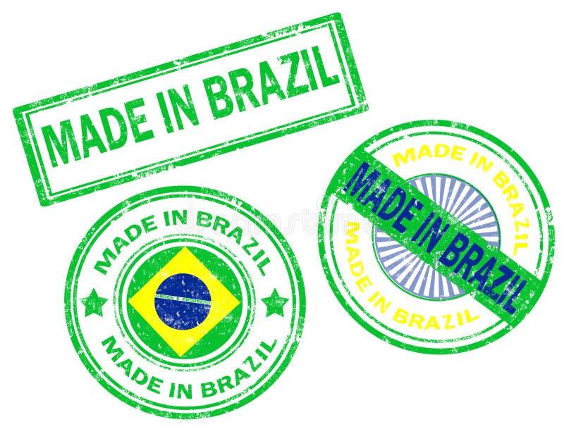 Gemaakt in de zegel van Brazilië stock illustratie