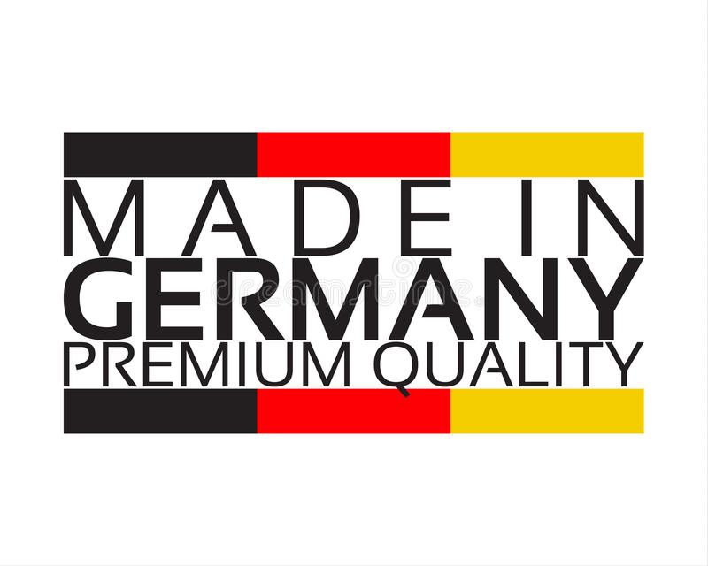 Gemaakt in Duitsland, de sticker van de premiekwaliteit met Duitse kleur vector illustratie