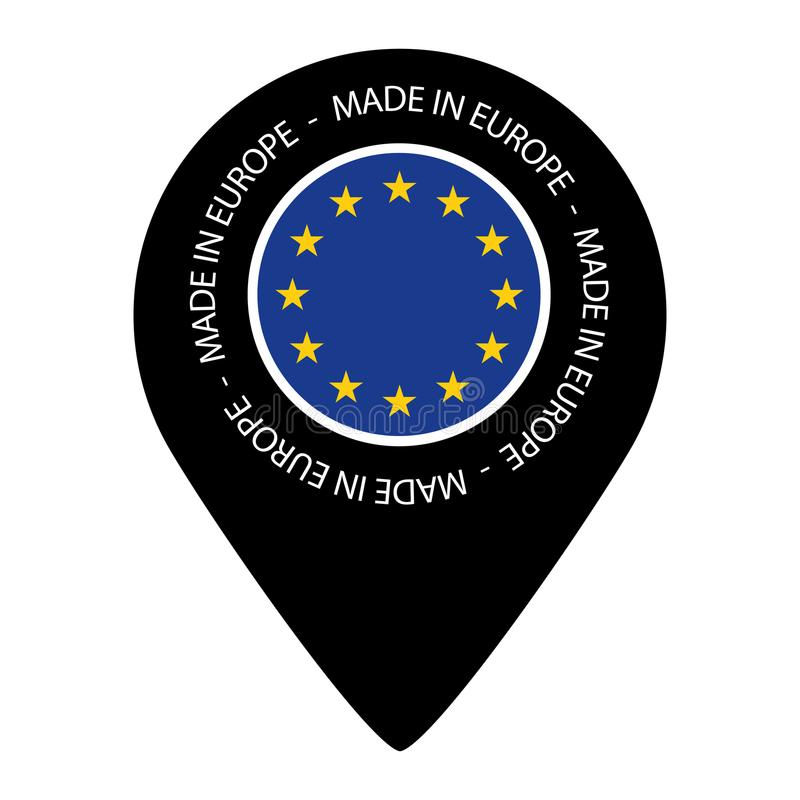 Gemaakt in Europa - de Vlag van de Kaartwijzer - VectordieIllustratie - op Wit wordt geïsoleerd vector illustratie