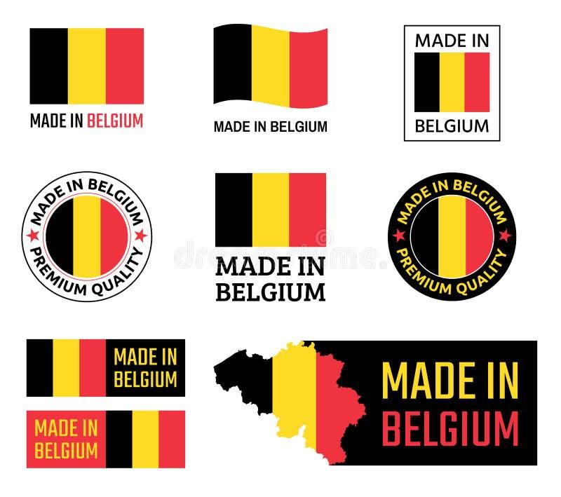 Gemaakt in geplaatste de etiketten van België, Belgisch productembleem vector illustratie