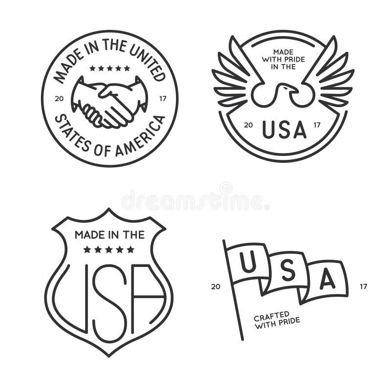Gemaakt in geplaatste de zegels van de etikettenkentekens van de V.S. Vector uitstekende zwart-wit illustratie vector illustratie