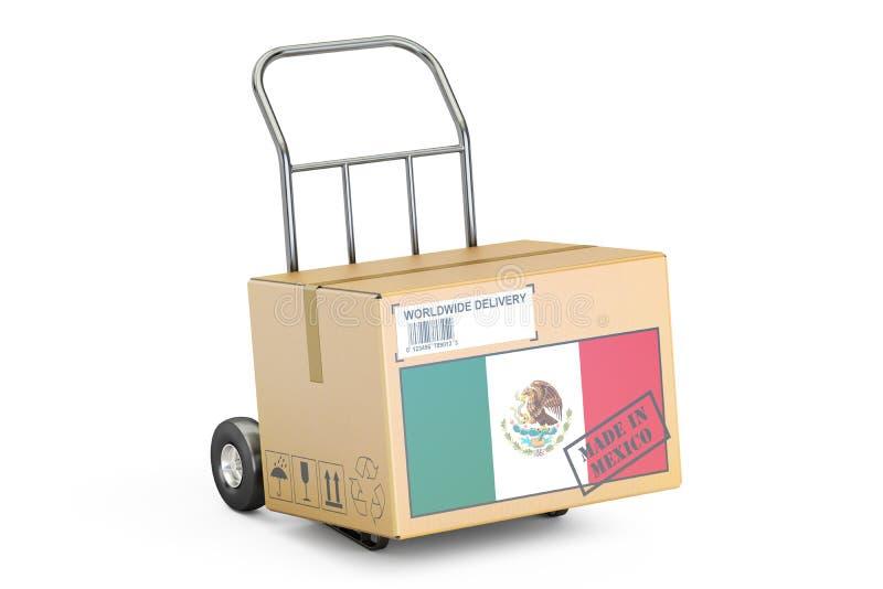 Gemaakt in het concept van Mexico Kartondoos op Handvrachtwagen, 3D renderin stock illustratie