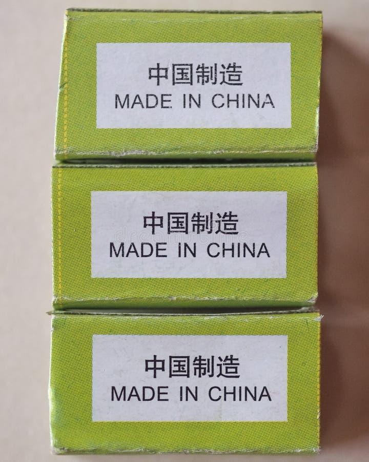 Gemaakt in het etiket van China royalty-vrije stock afbeelding