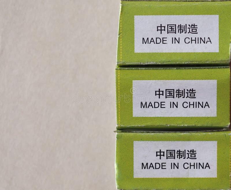 Gemaakt in het etiket van China met exemplaarruimte stock afbeeldingen