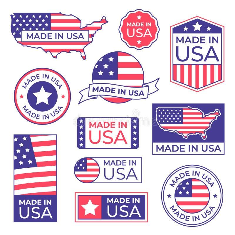 Gemaakt in het Etiket van de V.S. De Amerikaanse vlag trotse die zegel, voor de V.S. wordt gemaakt etiketteert pictogram en produ royalty-vrije illustratie