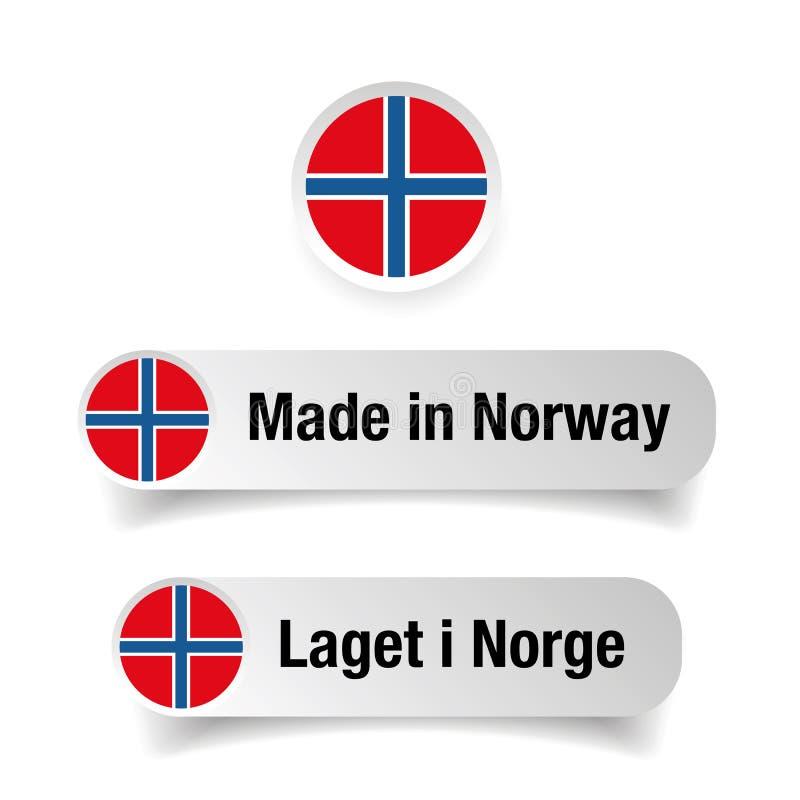 Gemaakt in het etiketreeks van Noorwegen stock illustratie