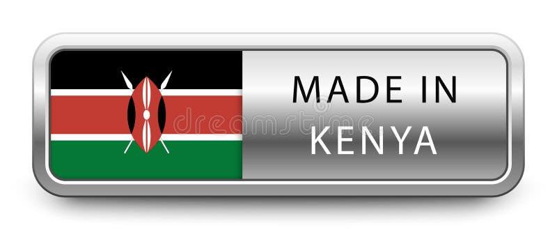 GEMAAKT IN het metaalkenteken van KENIA met nationale die vlag op witte achtergrond wordt geïsoleerd royalty-vrije illustratie
