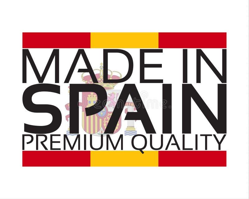 Gemaakt in het pictogram van Spanje, de sticker van de premiekwaliteit met Spaanse kleuren vector illustratie