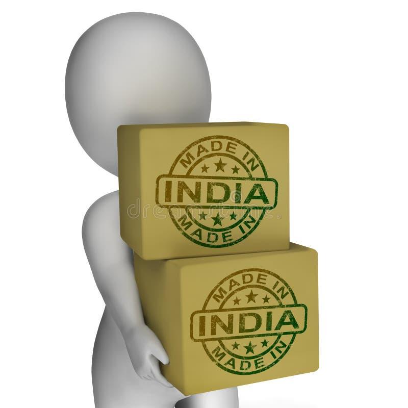 Gemaakt in India toont de Zegel op Dozen Indische Producten royalty-vrije illustratie