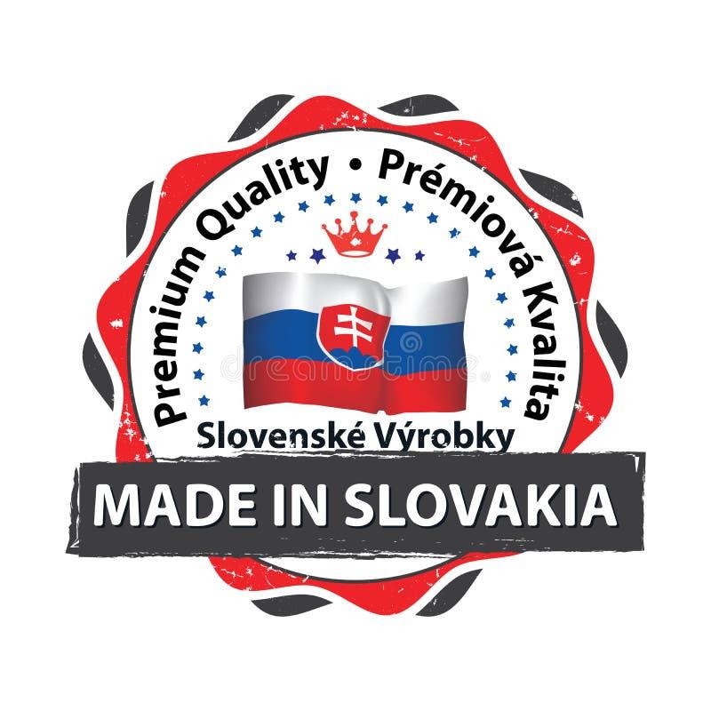 Gemaakt in Slowakije Premiekwaliteit - voor het drukken geschikt etiket royalty-vrije illustratie