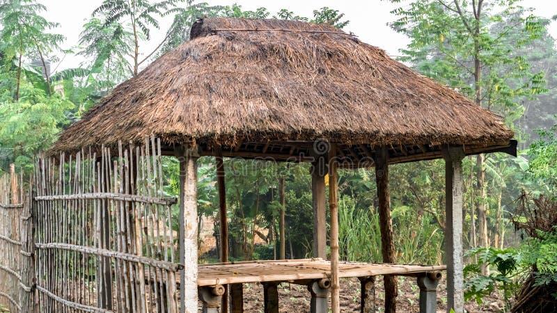 Gemaakte het bamboe met stro bedekt; Steiger met dak, op landelijk, landbouw en stammendiegebied van India wordt, door jagers en  royalty-vrije stock fotografie