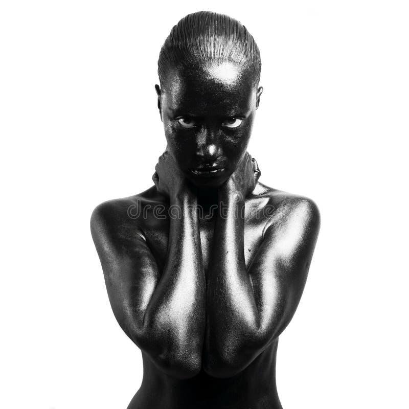 Gemaakte omhoog zwarte stock afbeelding
