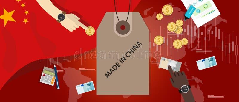 Gemacht in China-Flagge, die internationalen Geldwechsel-Exportimport handelt lizenzfreie abbildung