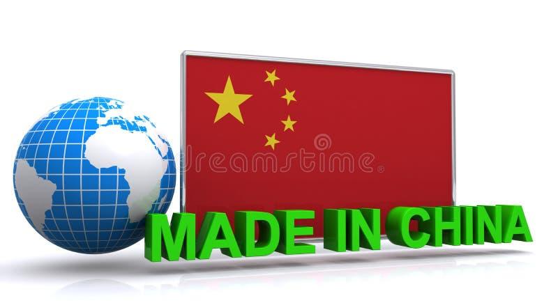 Gemacht in China-Grafik mit Flagge und Erde vektor abbildung