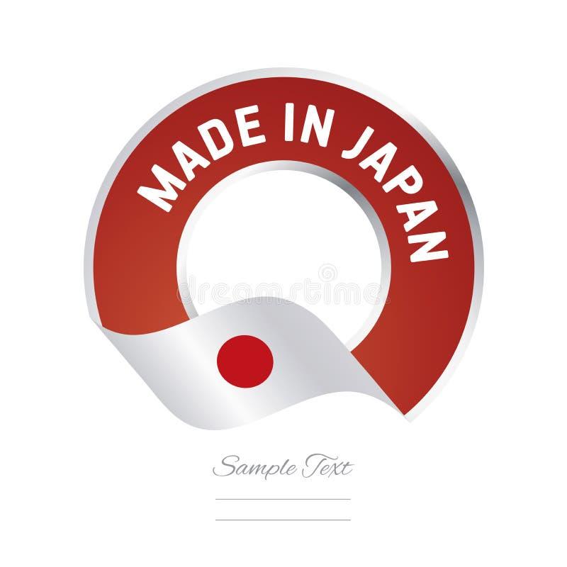 Gemacht in der Aufkleberknopffahne Japan-Flagge rote Farb vektor abbildung