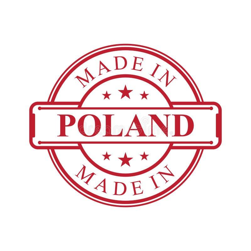 Gemacht in der Polen-Aufkleberikone mit rote Farbemblem auf dem wei?en Hintergrund stock abbildung