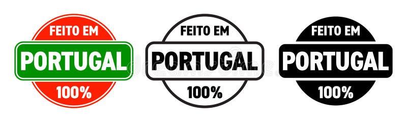 Gemacht in der Portugal-Vektorikone Feito EM Portugal, portugiesischer gemachter Qualitätsproduktaufkleber, 100-Prozent-Paketstem stock abbildung