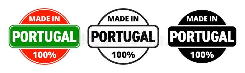 Gemacht in der Portugal-Vektorikone Portugiesischer gemachter Qualitätsproduktaufkleber, 100-Prozent-Paketstempel stock abbildung