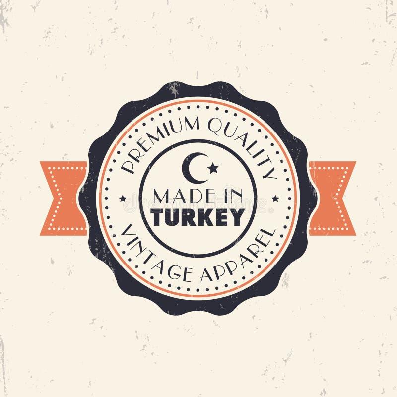 Gemacht in der Türkei, Weinlesezeichen, Ausweis, Insignien stockbild