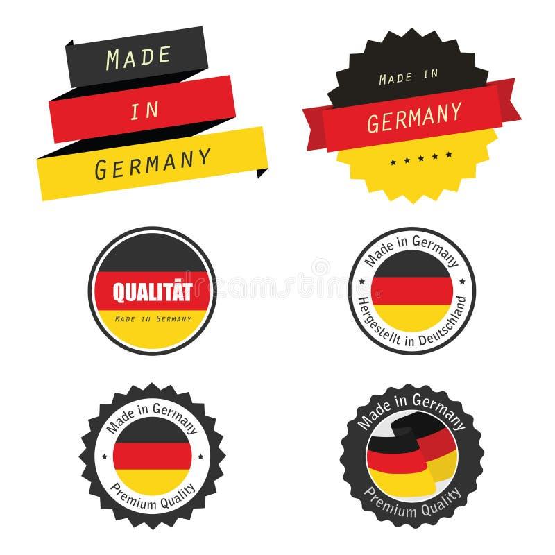 Gemacht in Deutschlandkennsätzen, -abzeichen und -aufklebern vektor abbildung